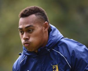 Highlanders winger Tevita Li runs the ball up during a training session at Logan Park earlier...