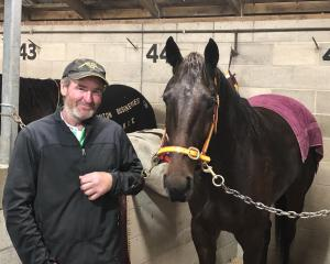 Trainer Shane Matheson with his Forbury Park winner, The Croupier. Photo: JONNY TURNER