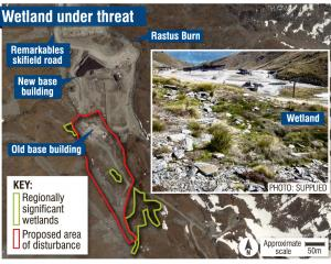A graphic showing where the Remarkables' wetland was situated. PHOTOS: ODT FILES/SUPPLIED