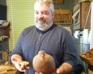 Ranfurly wood sculptor Luke Anthony showcases his handiwork including sculptures of a kea and...