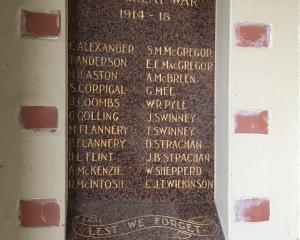 One of the plaques at the entrance to the Omakau District Memorial Hall lists some of the town's...