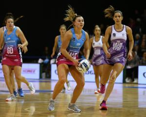 Gina Crampton, of the Southern Steel, looks to pass the ball during last night's ANZ Premiership...