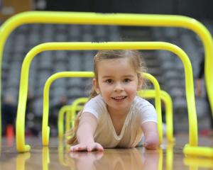 Eloise Holz (4½), of Invercargill, enjoys the challenges of a Kids Get Active Day at the Edgar...