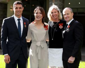 Dan Carter, Lydia Ko, Barbara Kendall and Glenn Ashby pose after receiving their NZOM honours for...