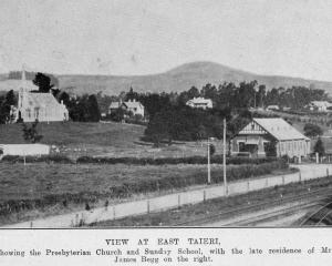 East Taieri, showing the Presbyterian Church and Sunday school, with the late residence of Mr...