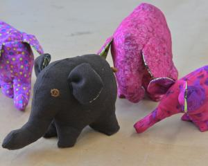 Elephants made from recycled fabric at Stitch Kitchen, Vogel St. Photo: Linda Robertson