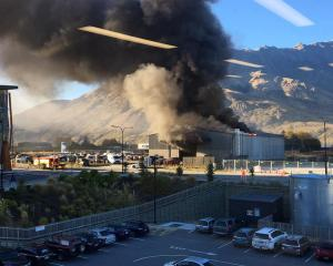 The fire broke out in the Queenstown area of Five Mile this morning. Photo: Jess Grimshaw