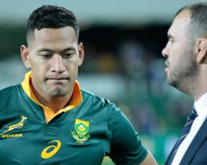 Israel Folau with coach Michael Cheika. Photo: Getty Images