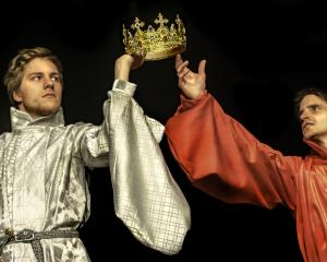 King Richard II, of England, played by Alfred Richardson (left) and Henry Bolingbroke, played by...