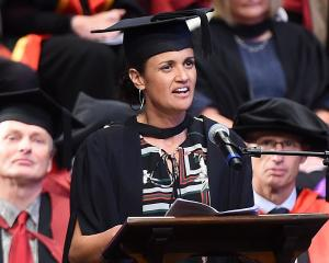 University of Otago graduate and an Auckland general manager Shelley Katae addresses graduates at...