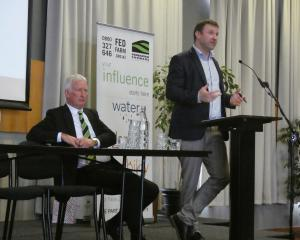 Southland Federated Farmers president Geoffrey Young (left) and NZ First MP Mark Patterson...