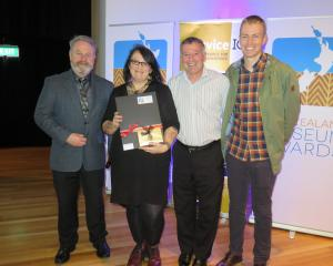 Arts Access Aotearoa executive director Richard Benge (left) at Te Papa last night with Dunedin...