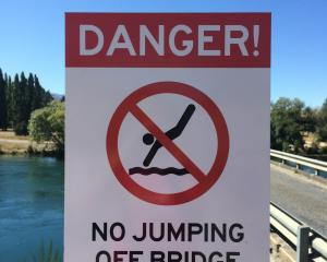 The Albert Town bridge's no jumping sign. Photo: Liz Breslin