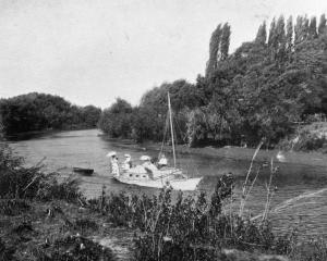 Boating on the Opawa River, Marlborough. — Otago Witness, 4.6.1919. COPIES OF PICTURE AVAILABLE...