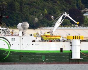 Hydrographic survey vessel Polarcus in Dunedin in 2015, alongside the Fryatt St wharf in the...
