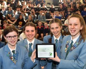 St Hilda's Collegiate School pupils (from left) Evie Rose Grace, Hannah McCoubrey, Emma Grindlay...