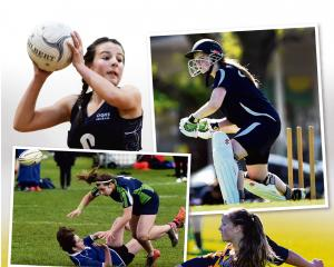 Clockwise from top left: OGHS centre Caitlin Thomson prepares to pass the ball; Rebecca Dean, also of OGHS, moves in to a shot; Elsie Anderson, of Wakatipu High School, makes a tackle; Columba College's Niamh Paterson loses the ball forward in the tackle