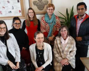 Dunedin health advocates and smoke-free campaigners (standing, from left) Catherine Thomas, Komal...