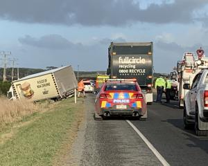 A driver escaped uninjured after a crash on SH1 south of Invercargill this morning. Photo: Abbey...