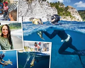 British free diver Nancy Gibson (main picture) lends a hand, making the ascent without the need...