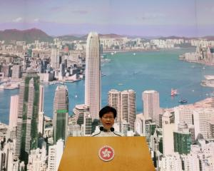 Hong Kong Chief Executive Carrie Lam speaks at a news conference in Hong Kong. Photo: Reuters