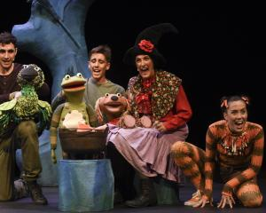 Puppeteers (from left) Edwin Beats, Ryan Dulieu, Cally Castell and Katie Burson in Room on the...