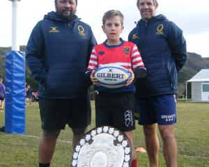 Cromwell's Josh Ede (11) spots the Ranfurly Shield at the junior rugby masterclass session in...