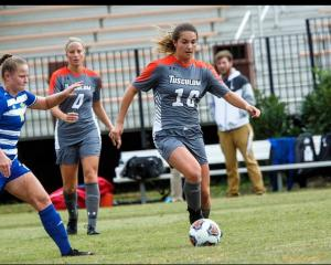 Kate Guildford in action last season for Tusculum University in the South Atlantic Conference...