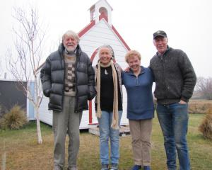 Oturehua residents (from left) poet Brian Turner, writer Jillian Sullivan, film director...