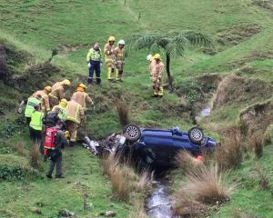 Emergency services at the scene of the crash. Photo: Philips Search and Rescue Trust via RNZ