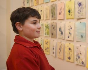 Admirer Felix Muir (9) takes a closer look at Tiffany Singh's handmade work, which will be...