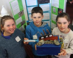 Limehills School year 5 pupils Elsie Turrell (9, left), Ryan Saunders (10) and Paige Ankerson  ...