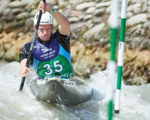 Alexandra paddler Finn Butcher on his way to 13th in the men's K1 at the canoe slalom World Cup...