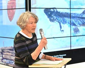 "Joan Anderson reading her poem, Foulden Maar, at the opening yesterday of the ""Fossils of Foulden..."
