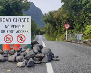 The Fox Glacier access road remains closed. Photo: RNZ / Tess Brunton