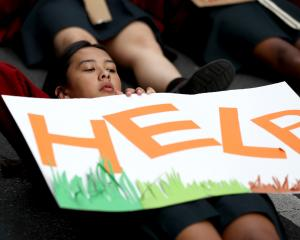 A school pupil participates in a School Strike 4 Climate in Auckland last month. Photo: Getty...