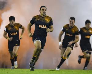 Agustin Creevy of Jaguares leads his team out against the ACT Brumbies. Photo: Getty Images