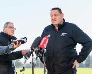 All Blacks coach Steve Hansen at a Foundation Day with the All Blacks today. Photo: Getty Images