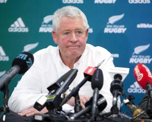 Steve Tew at a press conference to announce his upcoming departure. Photo: Getty Images