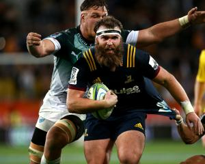 Liam Coltman during his 99th Super Rugby game last week, against the Bulls at Forsyth Barr...