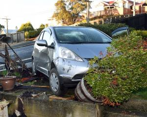 A car sits in the garden of Dave and Vanya Hammond's home in Mornington yesterday after it...