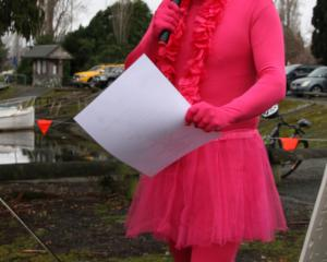 : Grant Excell, Te Anau School Principal pinked it for the chilly dip. The costume won the vote...