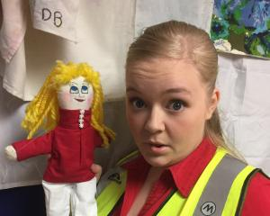 Sophie Worner, who plays the lead in short film M.U.M as a toy factory employee, holds her...