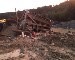 Ransacked mining equipment in the Goldsborough area on the West Coast from last week. Photo:...
