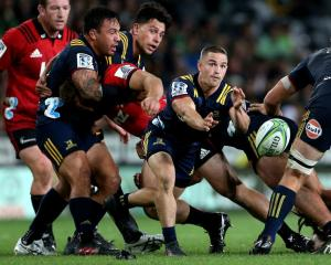 Kayne Hammington clears the ball from a ruck for the Highlanders against the Crusaders earlier...