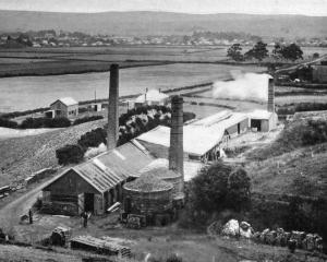 Mr Jones's brick and pipe-making works, with the town of Milton in the background. - Otago...
