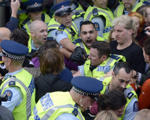 Police andclimate action demonstrators in the thick of protest action at the Dunedin Town Hall...