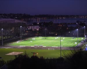 The new artificial turf facilities at Logan Park sparkle under lights earlier this month. PHOTO:...