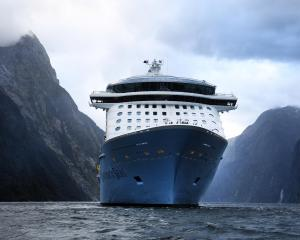 The Ovation of the Seas in Milford Sound this morning. Photo: Stephen Jaquiery