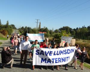 Clutha Southland MP Hamish Walker leads a  maternity services protest march in Lumsden. PHOTO:...
